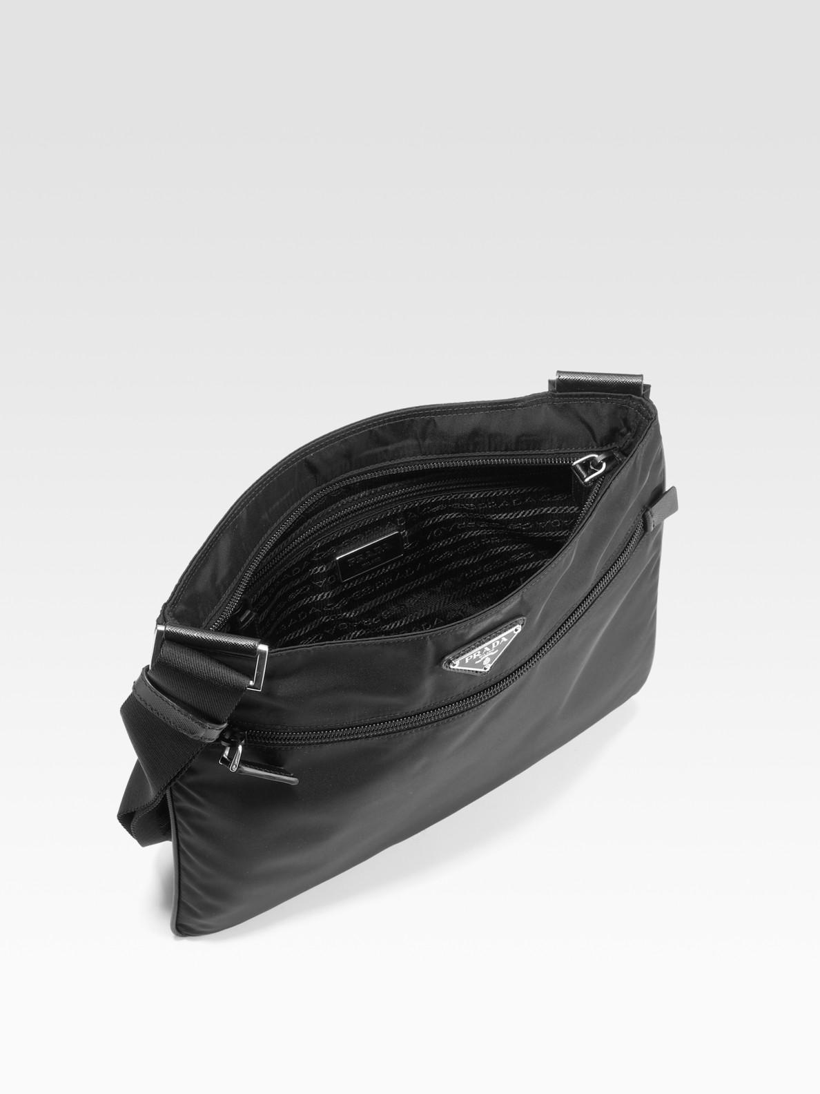 09a7b332ac454b Prada Nylon & Leather Messenger Bag in Black for Men - Lyst