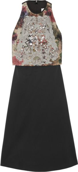 Preen By Thorton Bregazzi Eve Embellished Stretch-twill Dress in Black