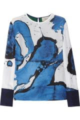 Preen Swoosh Printed Silk and Wool Top