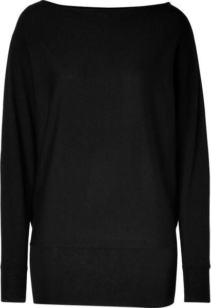 Ralph Lauren Black Corespun Cashmere Boatneck Batwing Pullover in Black