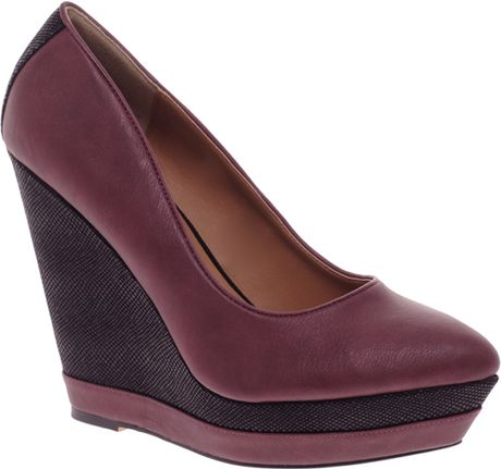 6736e293553 River Island Contrast Wedge Shoes in Red (purple)