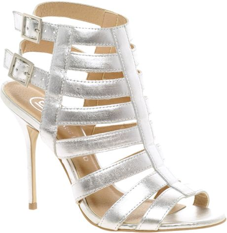 726b686c3 River Island Olivia Caged Heeled Sandals in Silver