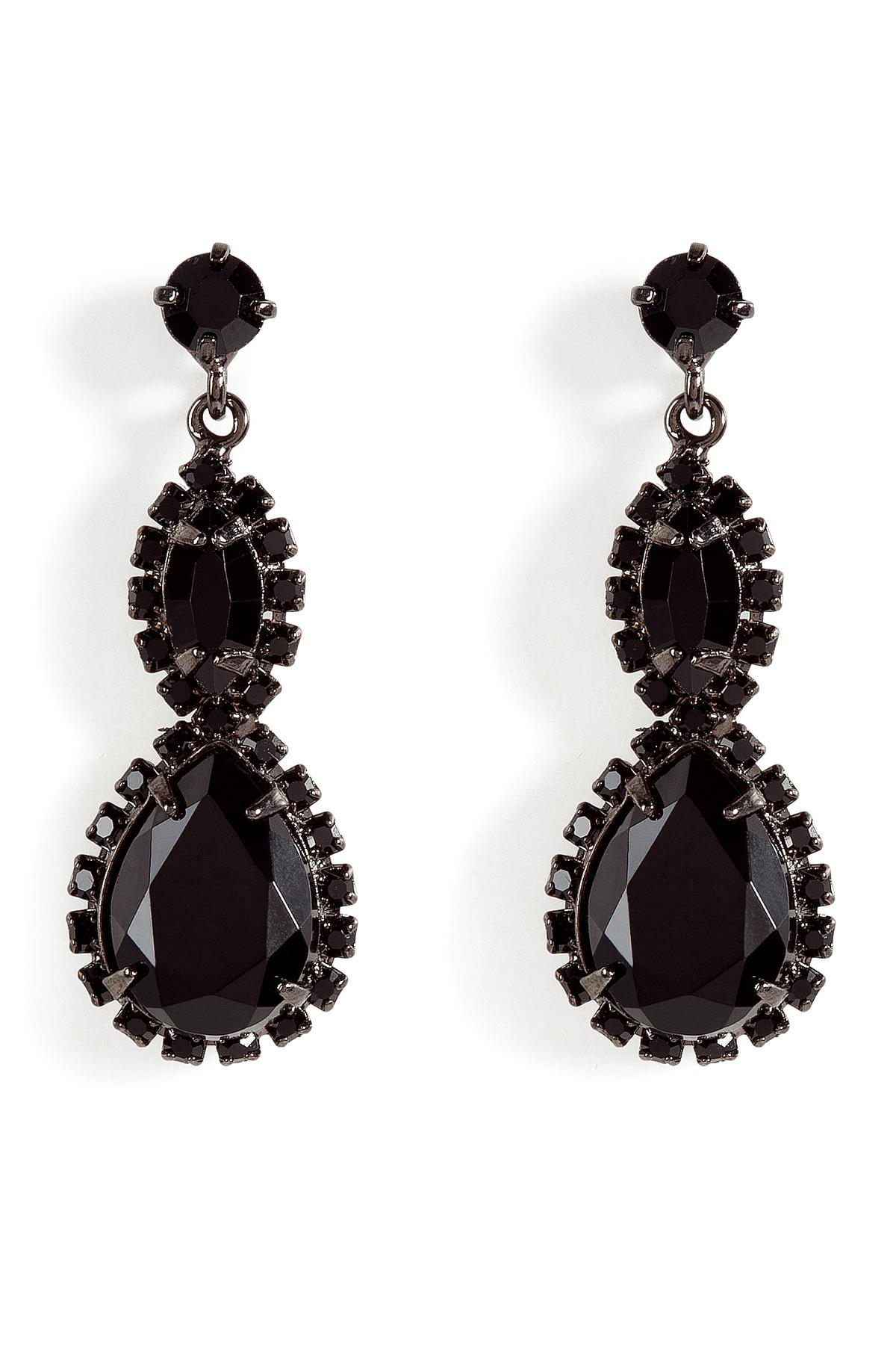 R J Graziano Black Crystal Drop Earrings In Lyst