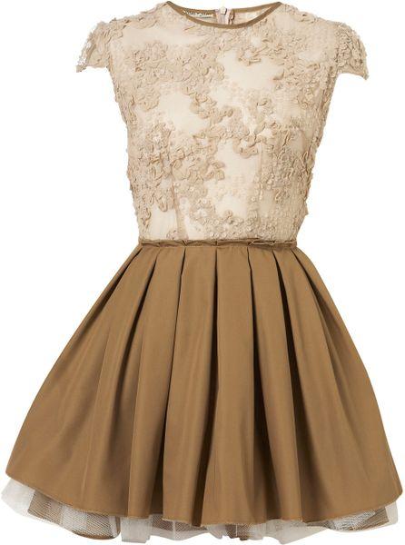 Topshop Sequin Laura Dress In Beige Lyst