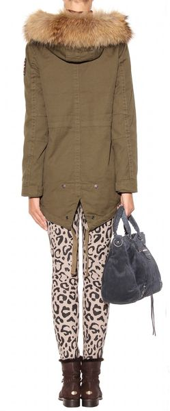 true religion parka with furtrimmed collar in green olive lyst. Black Bedroom Furniture Sets. Home Design Ideas
