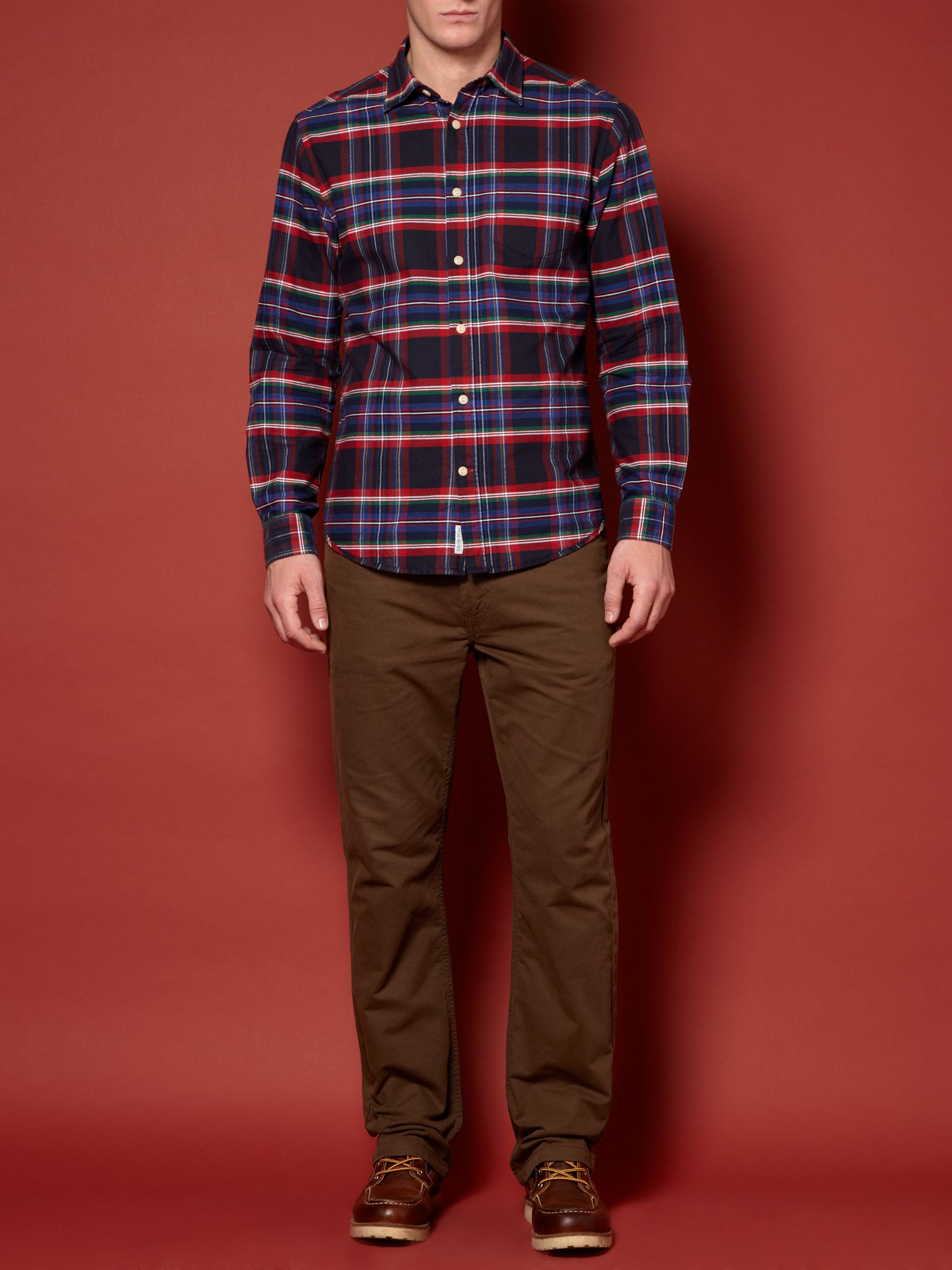 Howick Holiday Oxford Check Long Sleeved Shirt in Red for Men