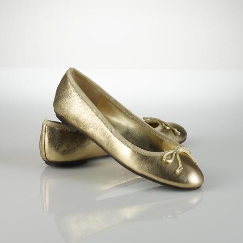 lauren by ralph lauren amarissa leather ballet flat in metallic lyst. Black Bedroom Furniture Sets. Home Design Ideas