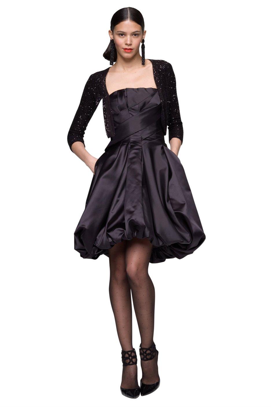 Oscar de la renta Duchess Satin Strapless Bubble Dress in Black | Lyst