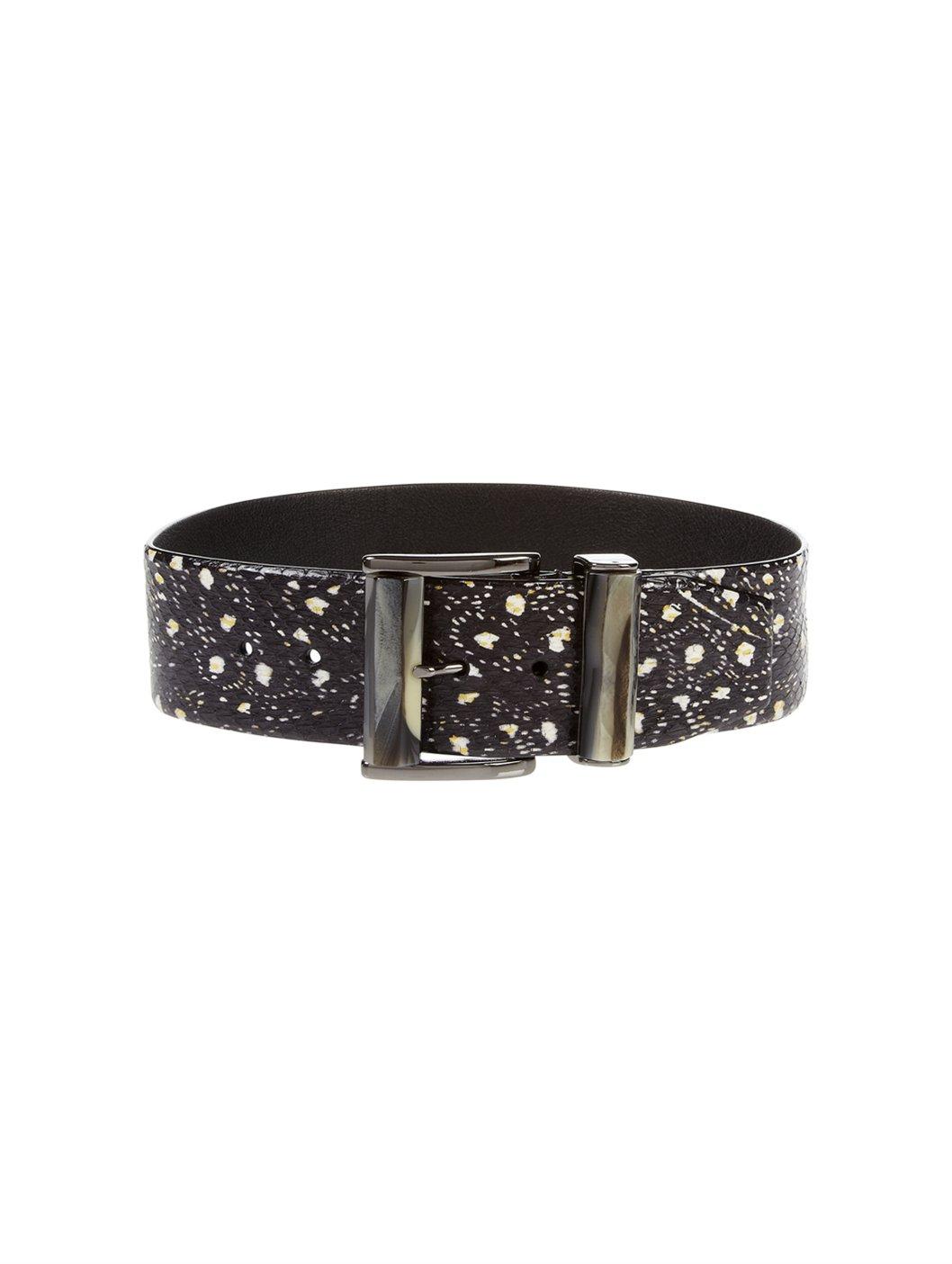 oscar de la renta resin wide buckle belt in black black