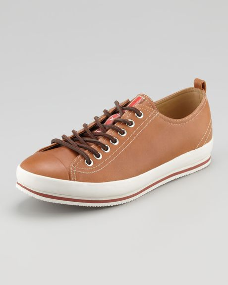 Prada Captoe Leather Sneaker Brown in Brown for Men