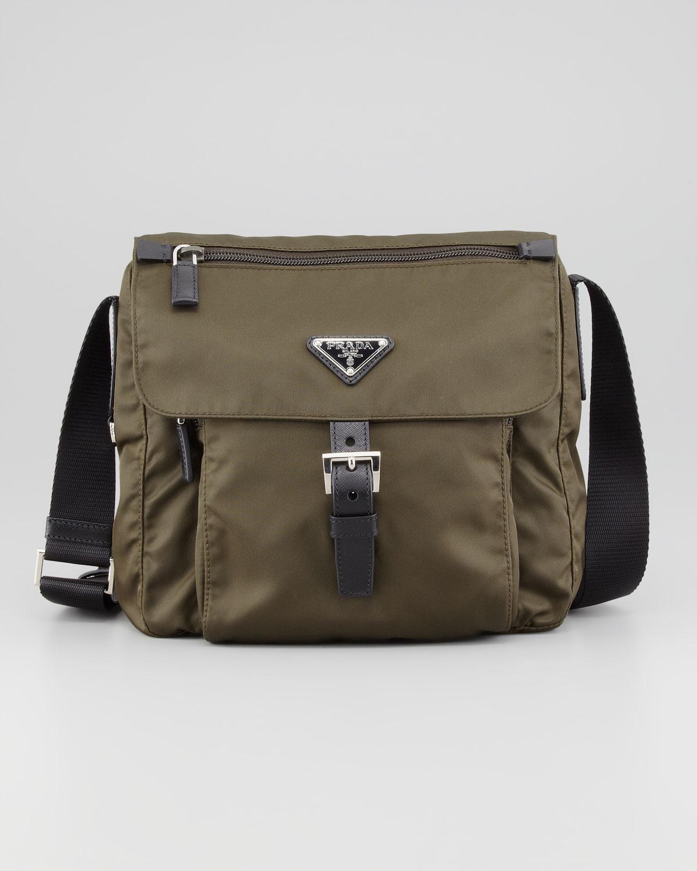 64f6787c7a36 ... best price lyst prada vela nylon messenger bag olive in brown 2ae5b  58fd1