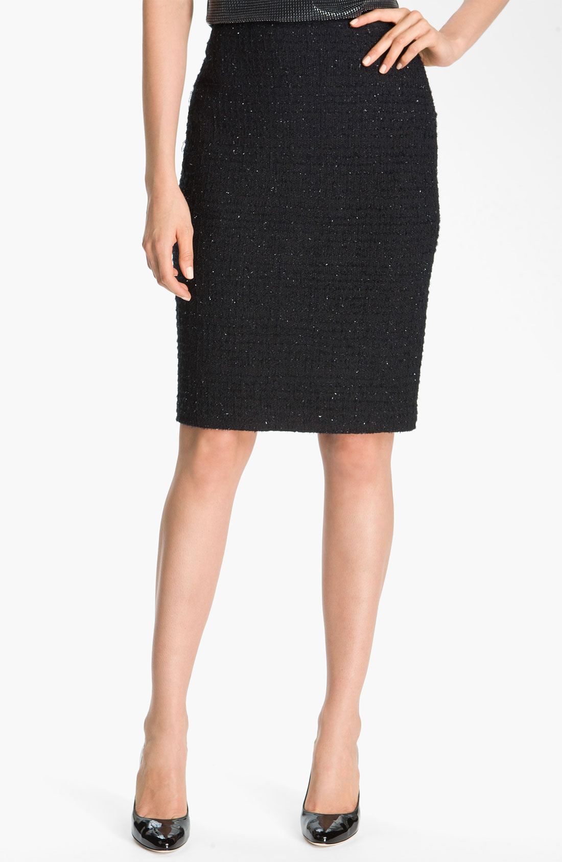 St. John Collection Textured Shimmer Knit Pencil Skirt in ...