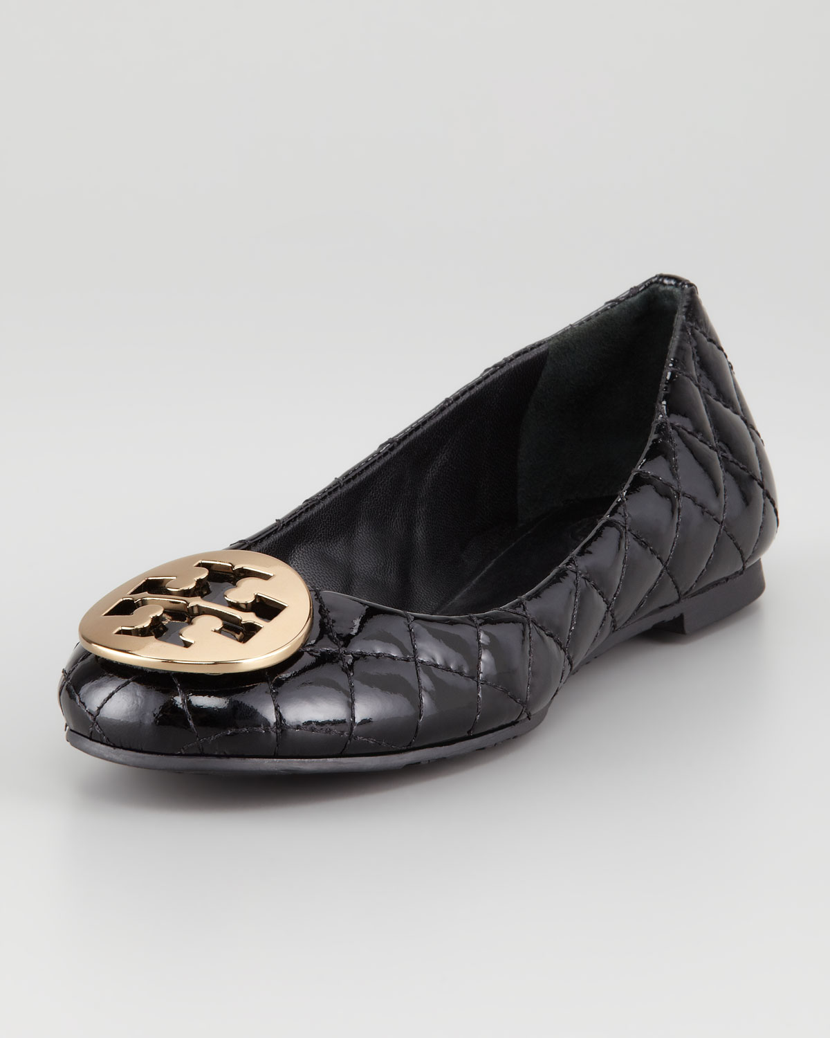 Tory Burch Quinn Quilted Patent Ballerina Flat In Black