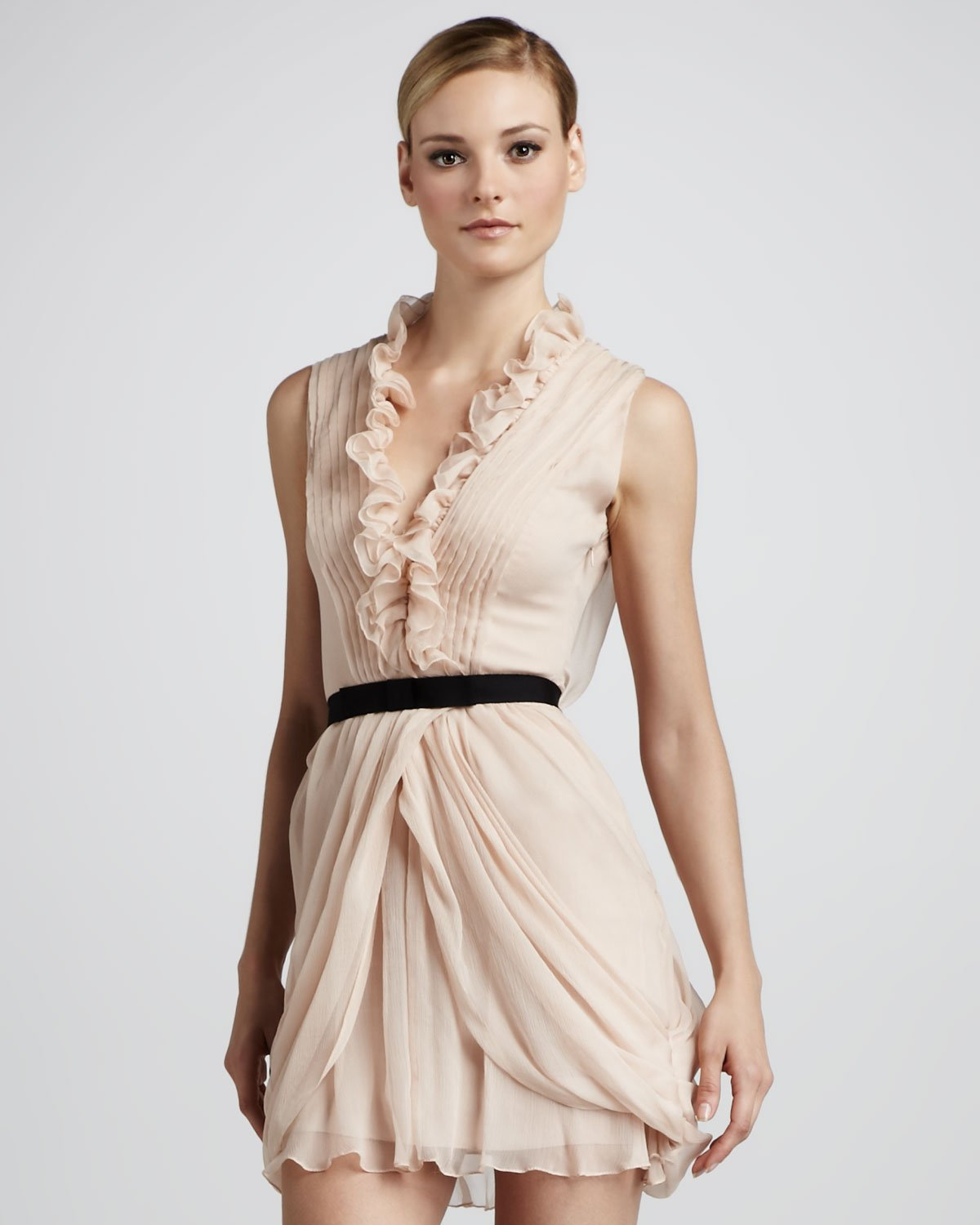 Vera wang lavender Ruffled Cocktail Dress in Pink | Lyst