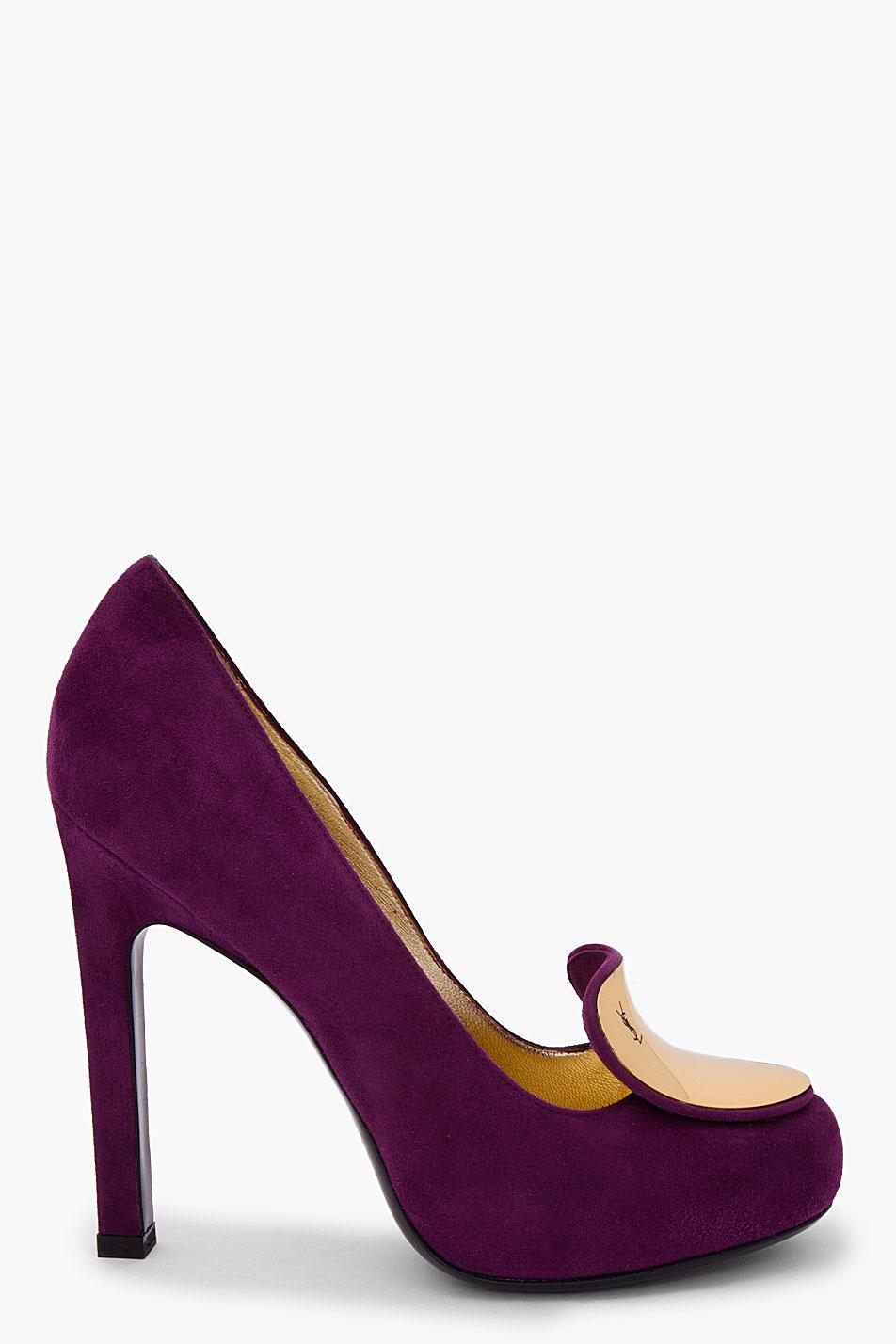 Lyst Saint Laurent Purple Suede Catherine Pumps In Purple