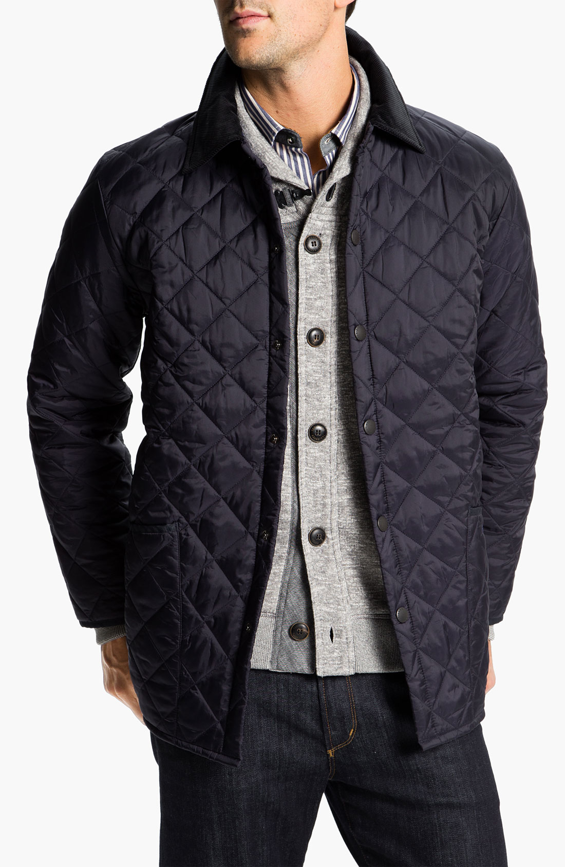 Lyst barbour liddesdale quilted jacket in blue for men for Quilted jackets for men