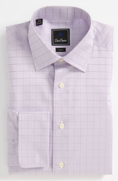 David Donahue Trim Fit Dress Shirt In White For Men Lilac