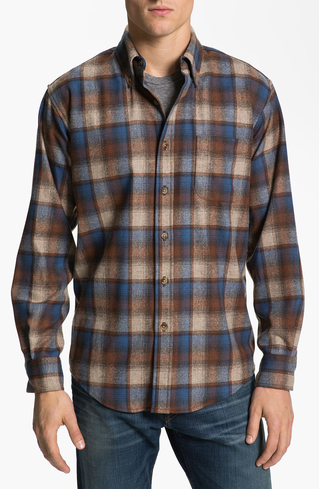 Pendleton fireside fitted plaid wool flannel shirt in for Mens wool flannel shirt