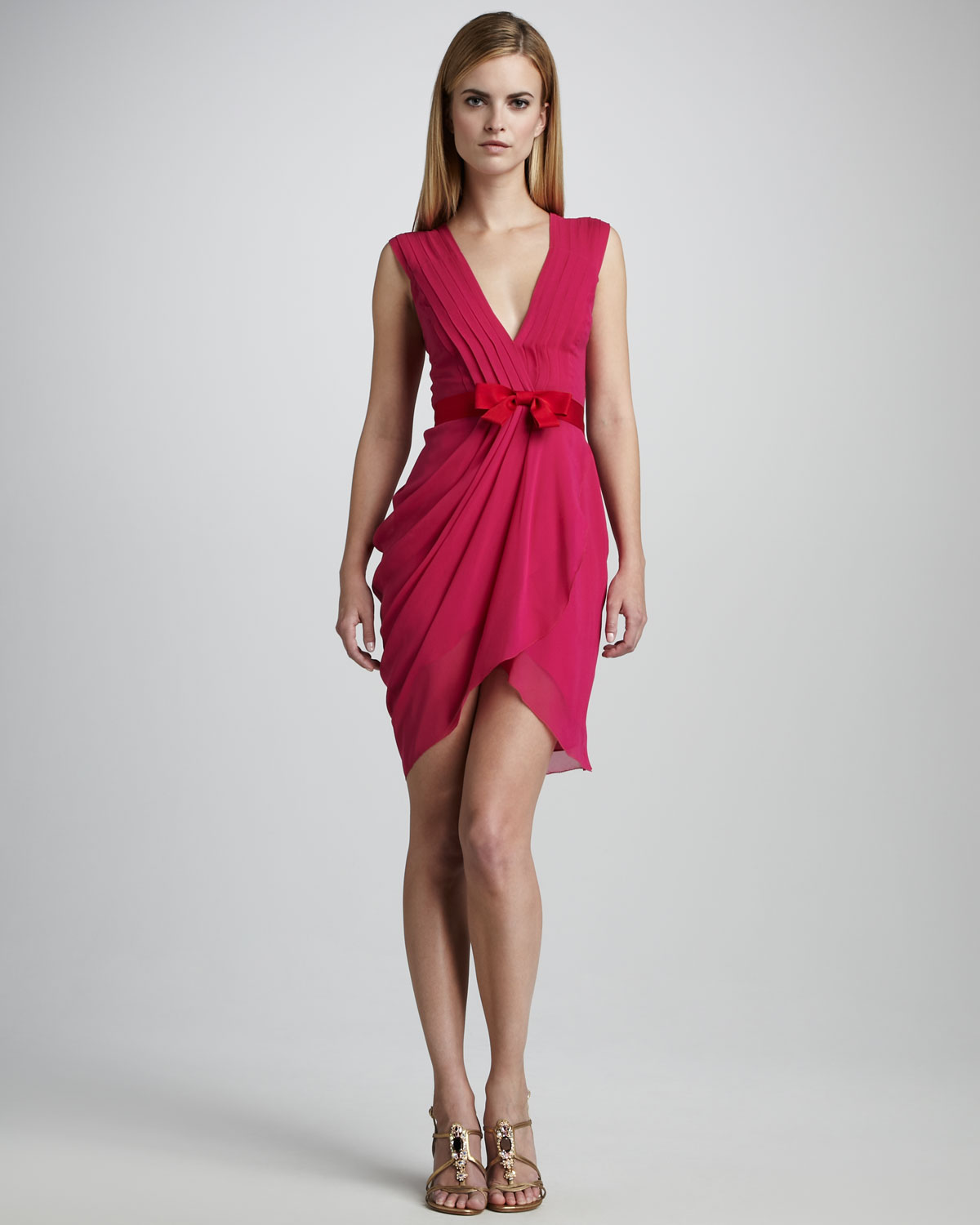 f170f75f0b18 Vera Wang Lavender Draped Fitted Cocktail Dress in Pink - Lyst
