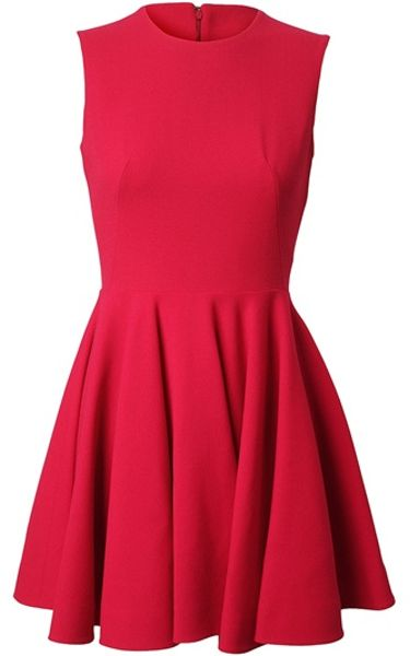 Alexander Mcqueen Stretch Crepe Wool Fluted Dress in Red (pink)