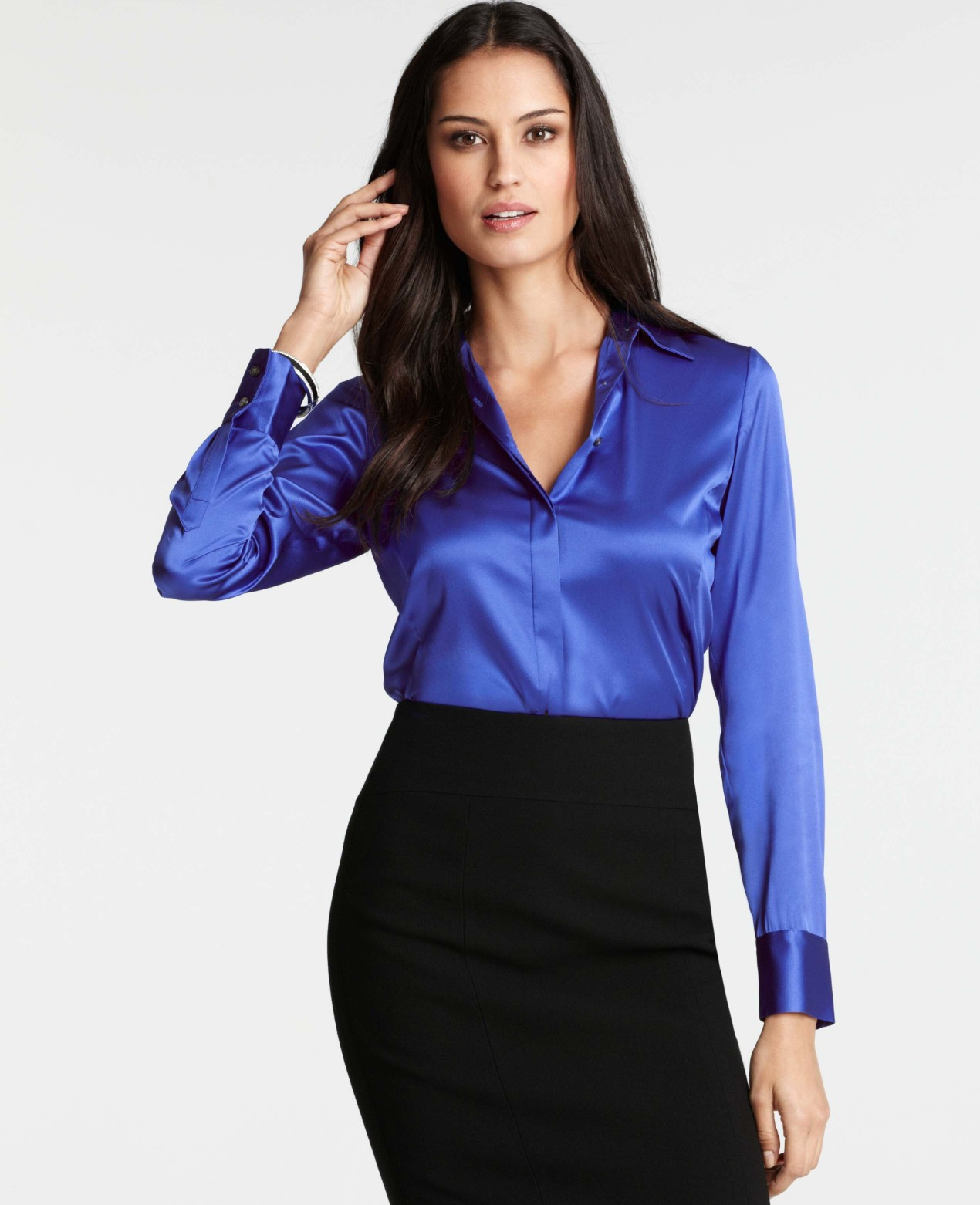 Lyst Ann Taylor Silk Legacy Blouse In Blue