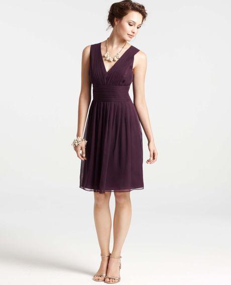 Ann taylor petite silk georgette pleat tank dress in for Silk georgette wedding dress