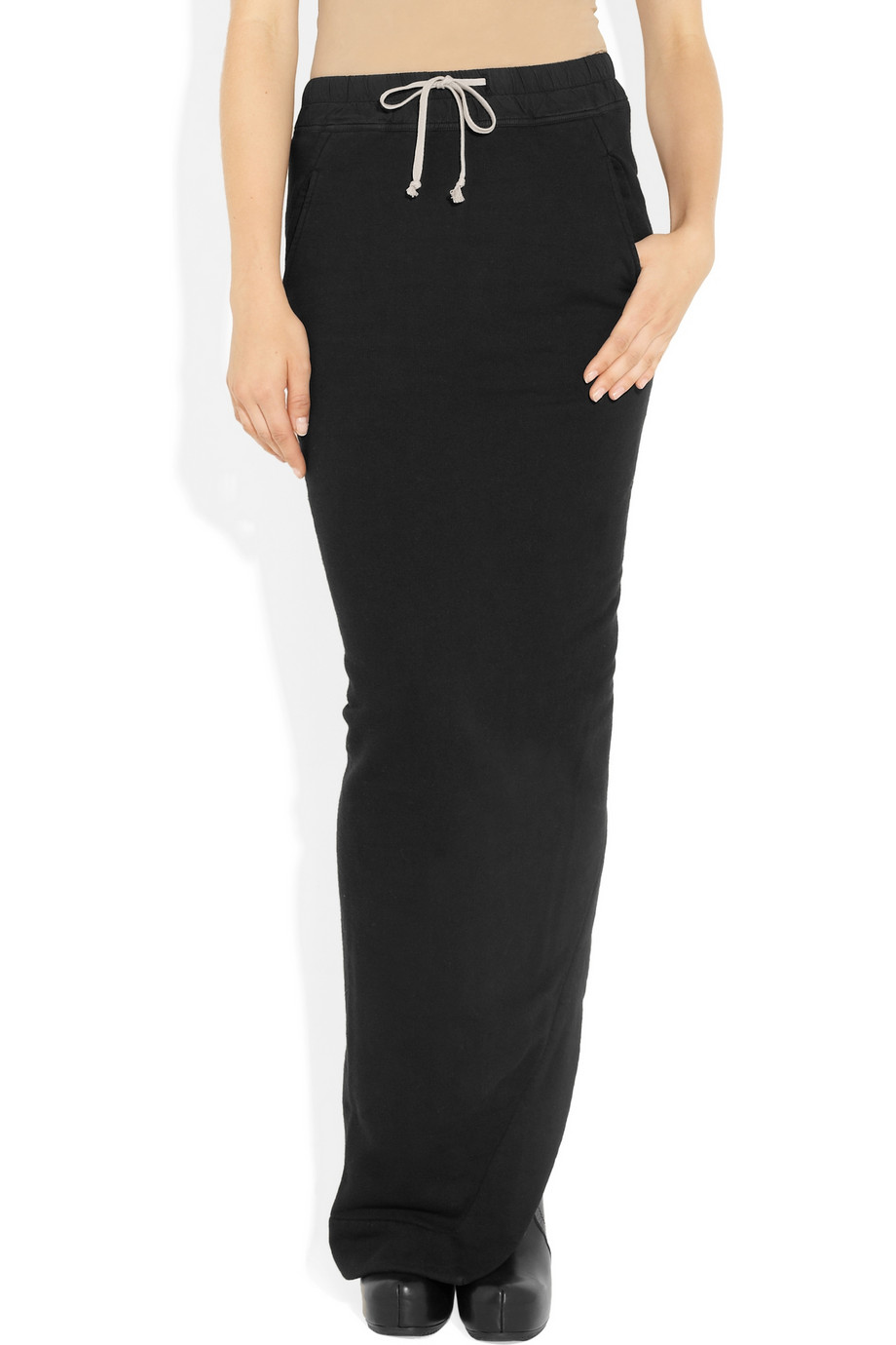Drkshdw by rick owens Drawstring Cotton Jersey Maxi Skirt in Black ...
