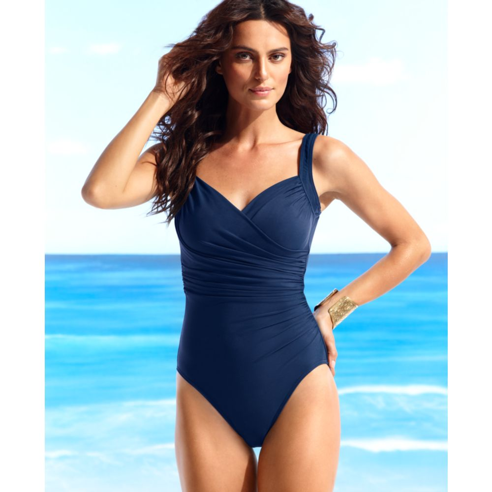 bf24b47fa7ac2 Lyst - Miraclesuit Sanibel Ruched Tummy Control One Piece in Blue