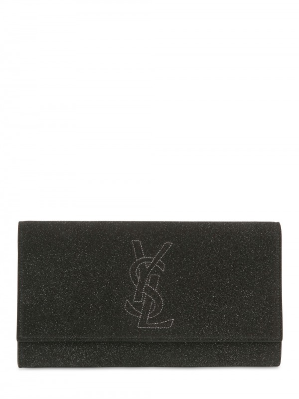 Saint laurent Belle De Jour Glitter Leather Clutch in Black | Lyst