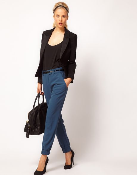 Asos Collection Trouser with Elastic Cuff in Blue (teal)