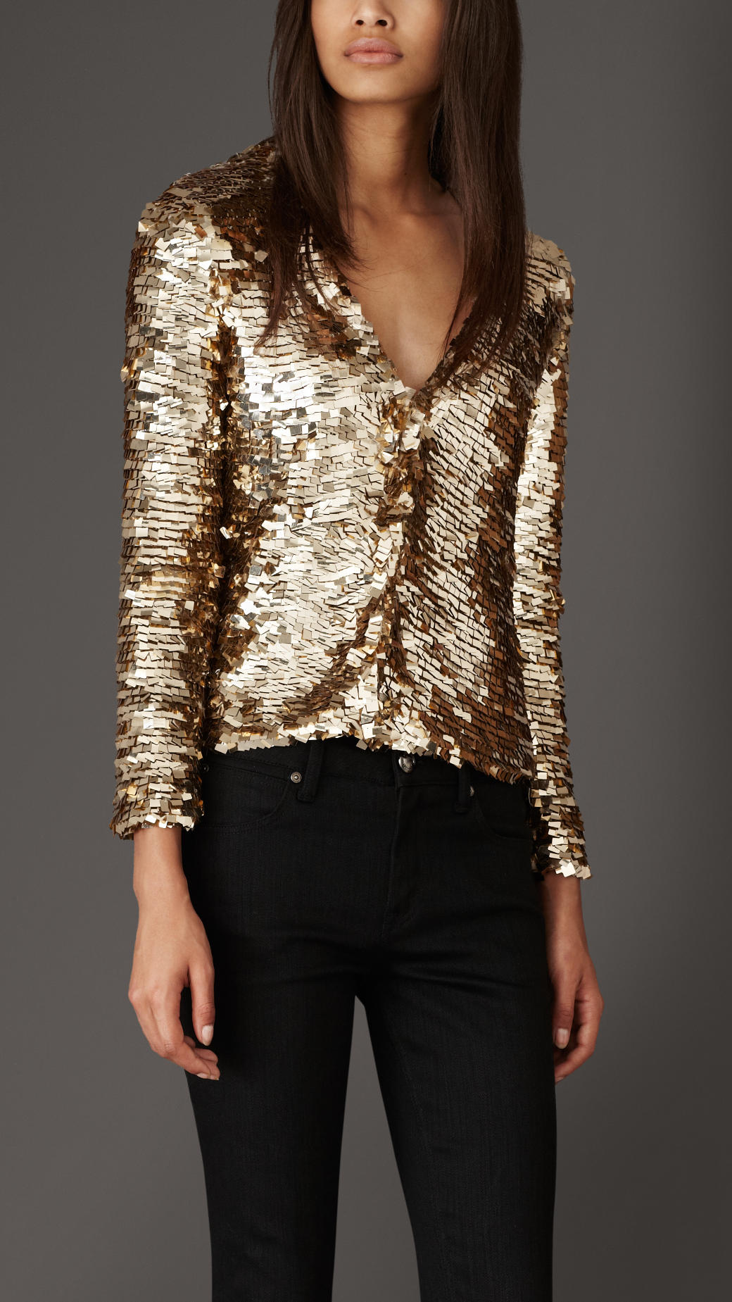 Burberry Geometric Sequin Cardigan in Metallic | Lyst