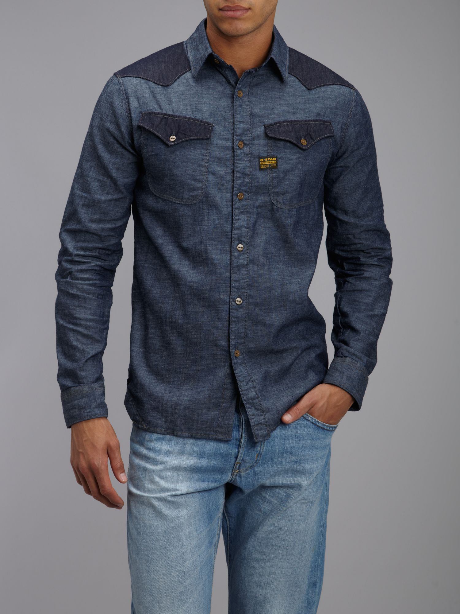 g star raw denim shirt in blue for men lyst. Black Bedroom Furniture Sets. Home Design Ideas