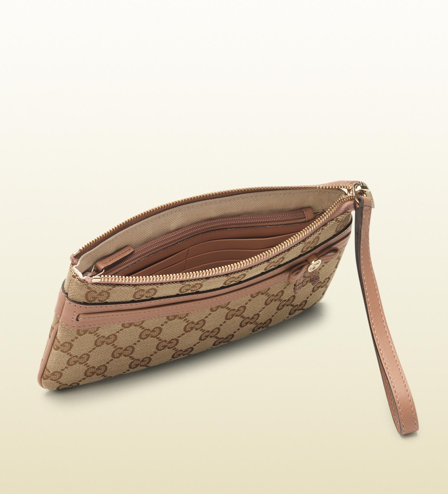 8623b843a1d15a Gucci Bow and Interlocking G Wristlet Wallet in Brown - Lyst