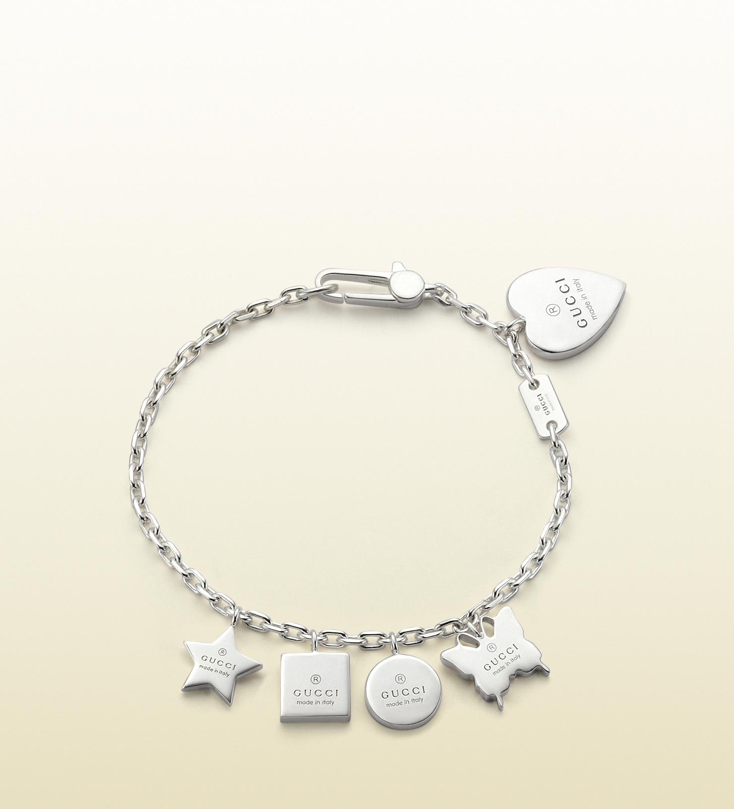 Gucci Bracelet With Trademark Engraved Charms In