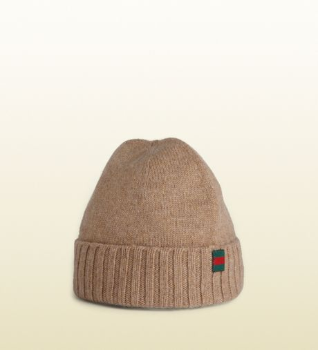 Gucci Hats For Men: Gucci Knit Hat With Flag Web Detail In Beige For Men