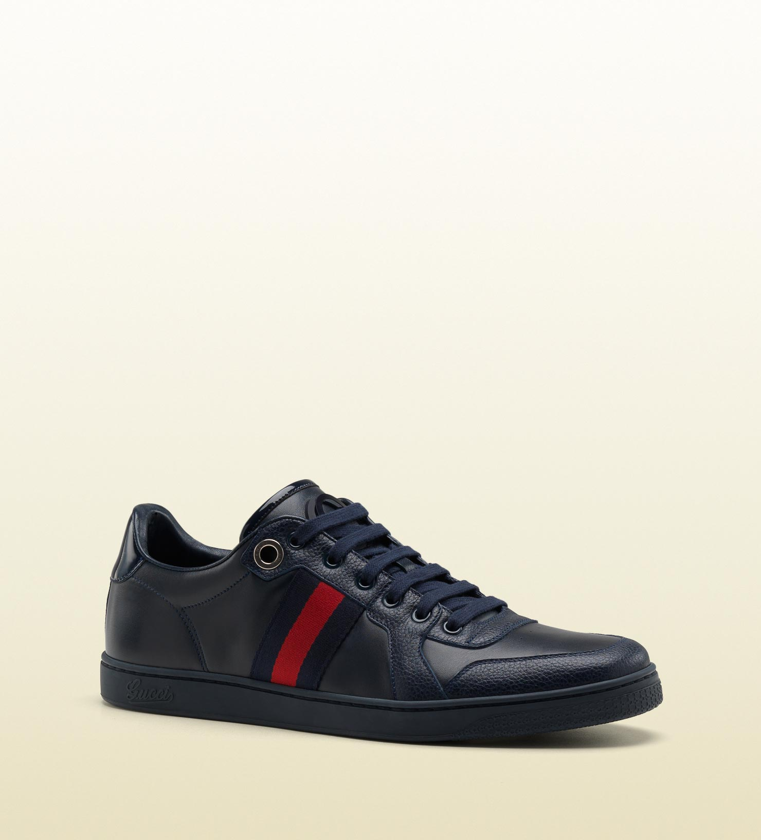 bdb6ed19e846f Gucci Lace-up Sneaker With Interlocking G And Signature Web Detail ...