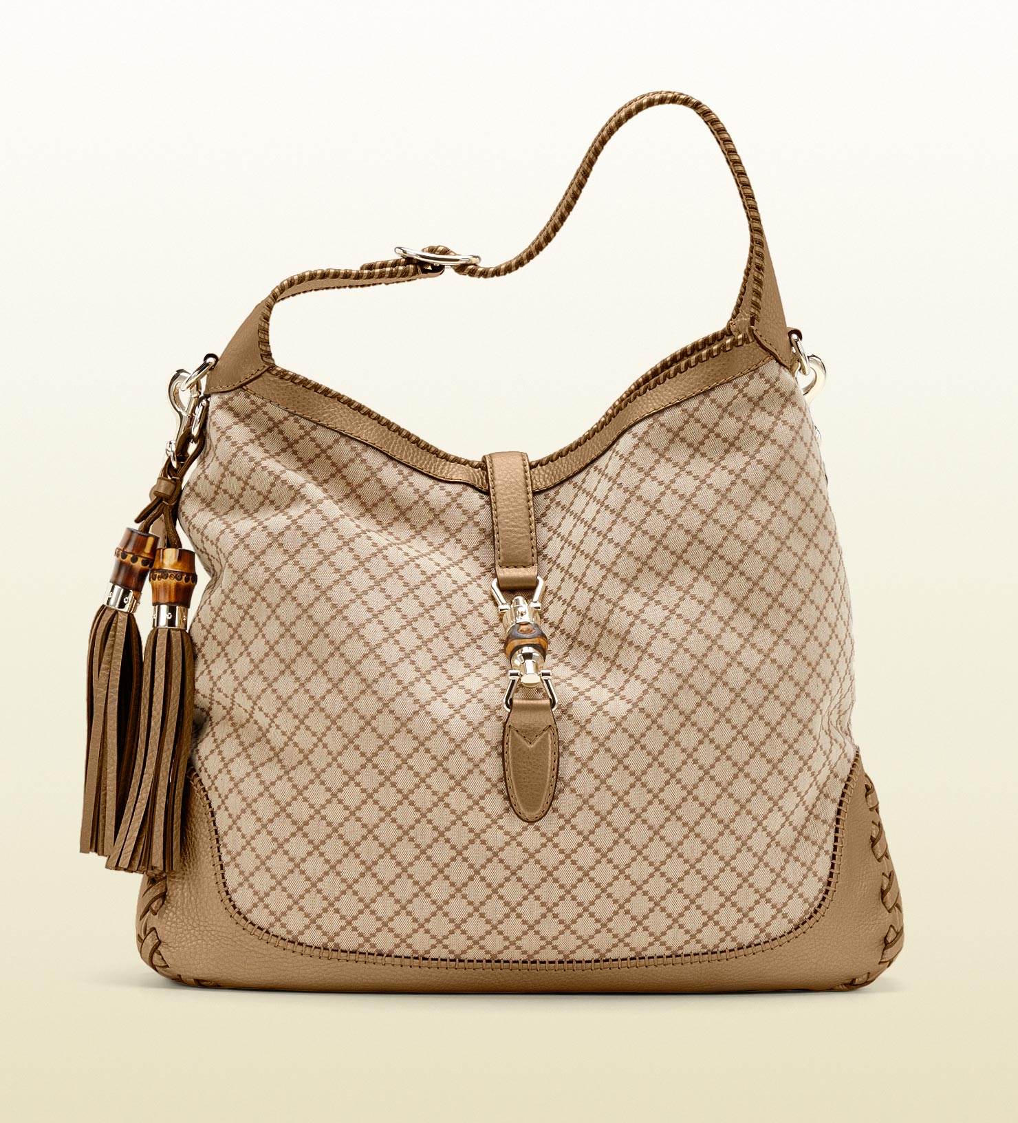 16378146835 Lyst - Gucci New Jackie Diamante Canvas Shoulder Bag in Natural