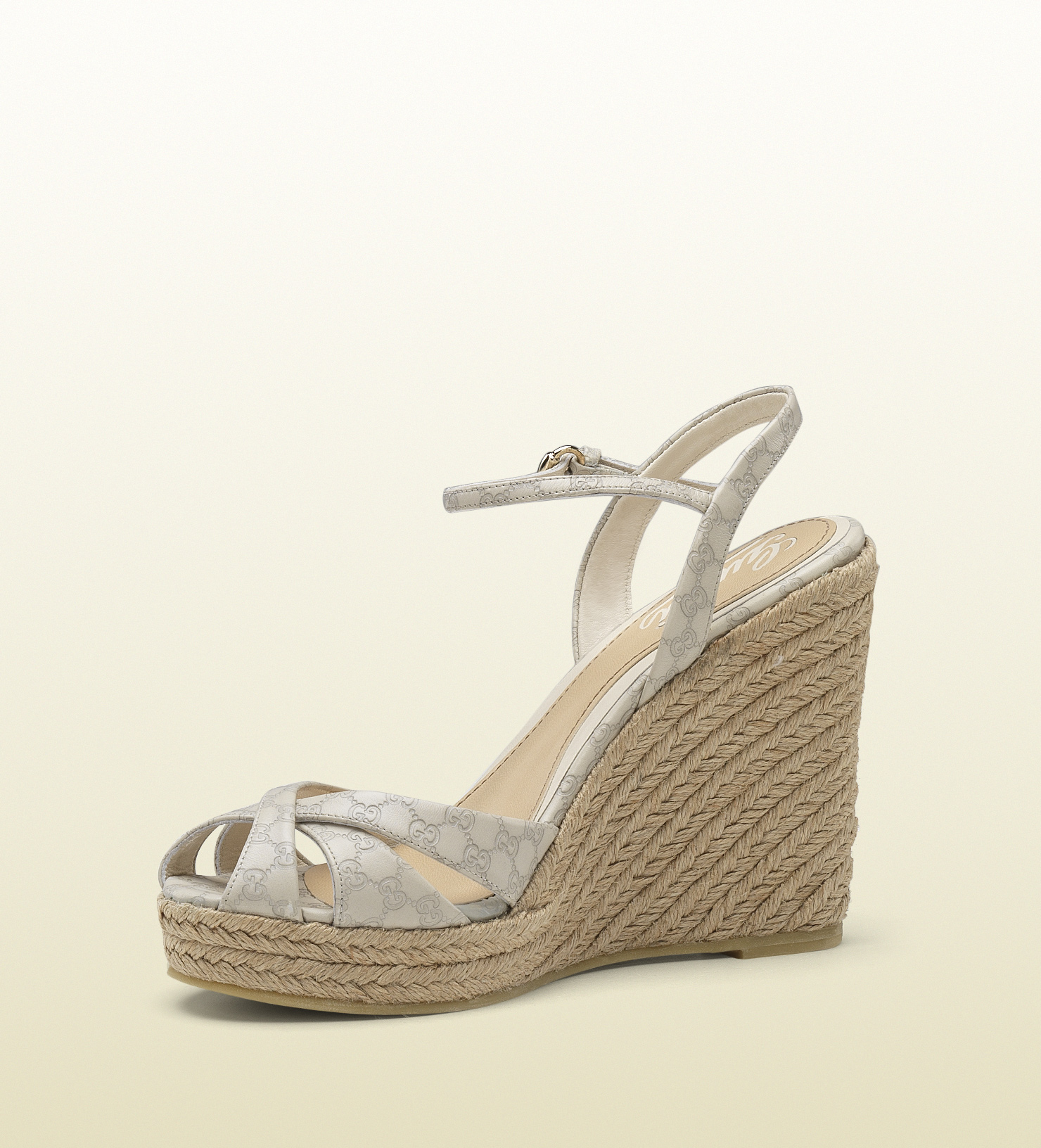 df678883bca Gucci Natural Penelope Strappy Espadrille Wedge Sandal
