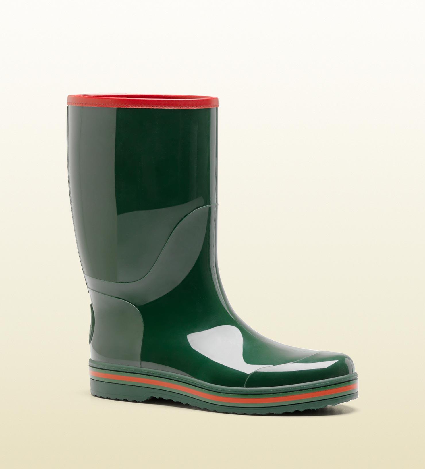 Gucci Rain Boot in Green for Men - Lyst