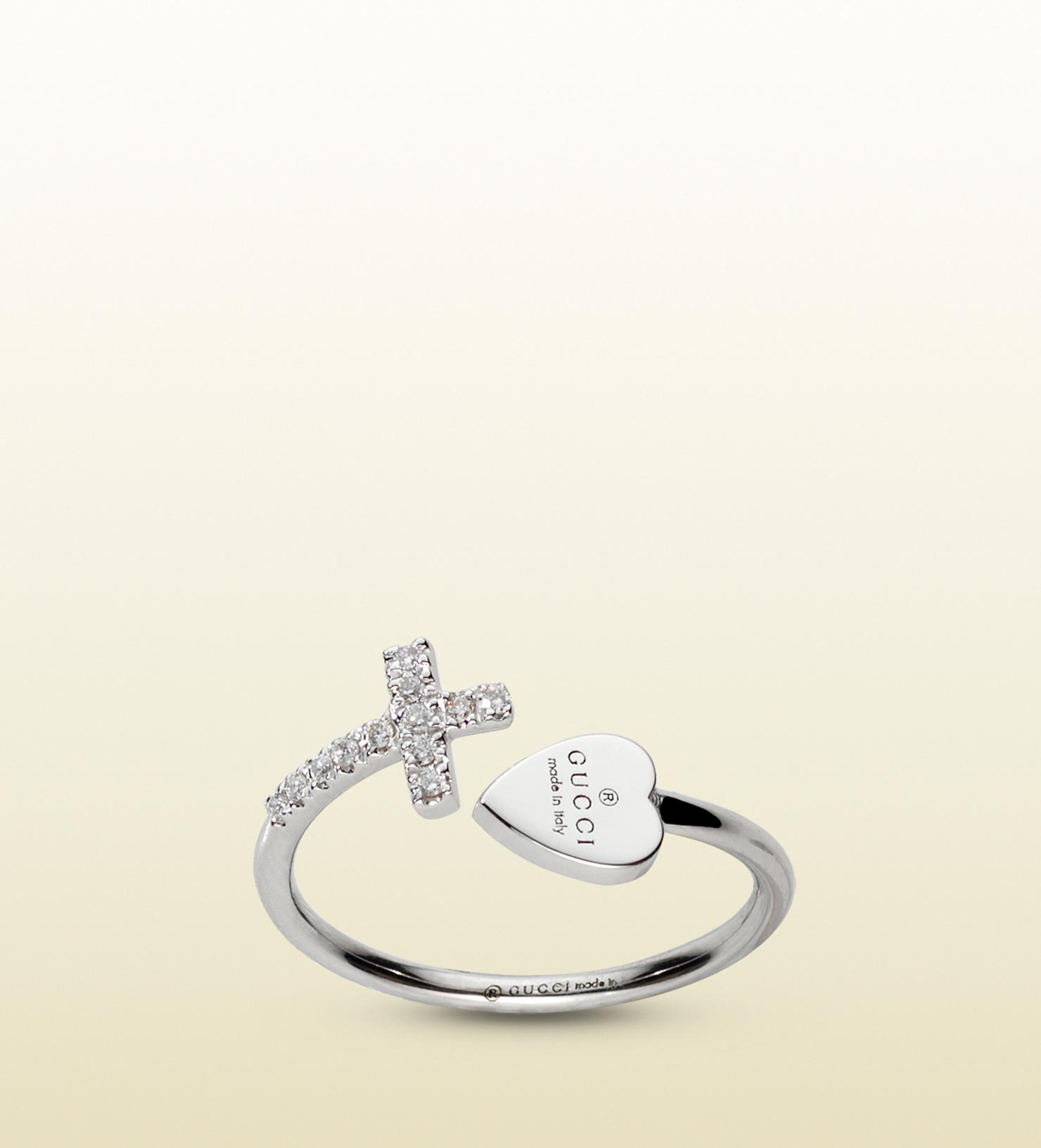 Gucci Ring With Cross And Trademark Engraved Heart In