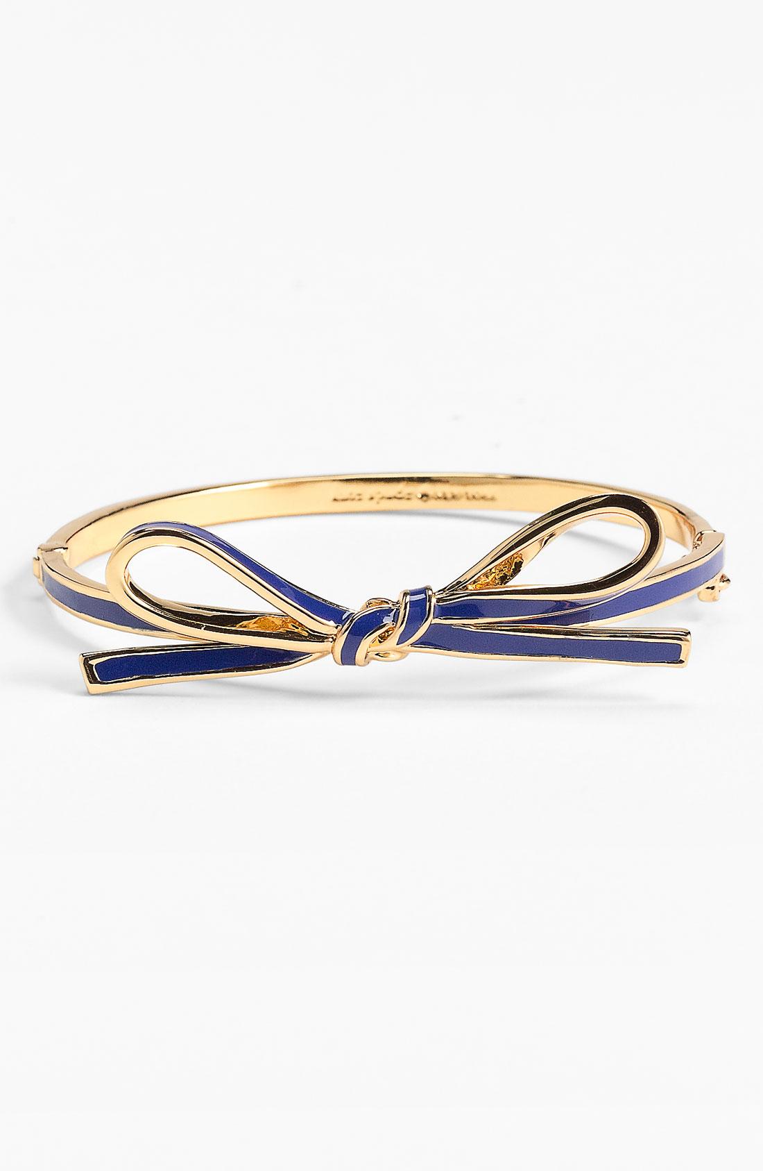 Kate spade skinny mini bow bangle in blue royal blue gold lyst
