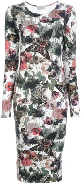 Preen By Thornton Bregazzi Floral Moth Print Dress in Floral
