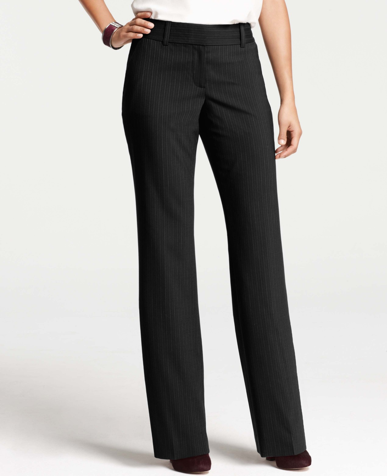 Ann taylor Petite Curvy Color Pinstripe Trousers in Black ...