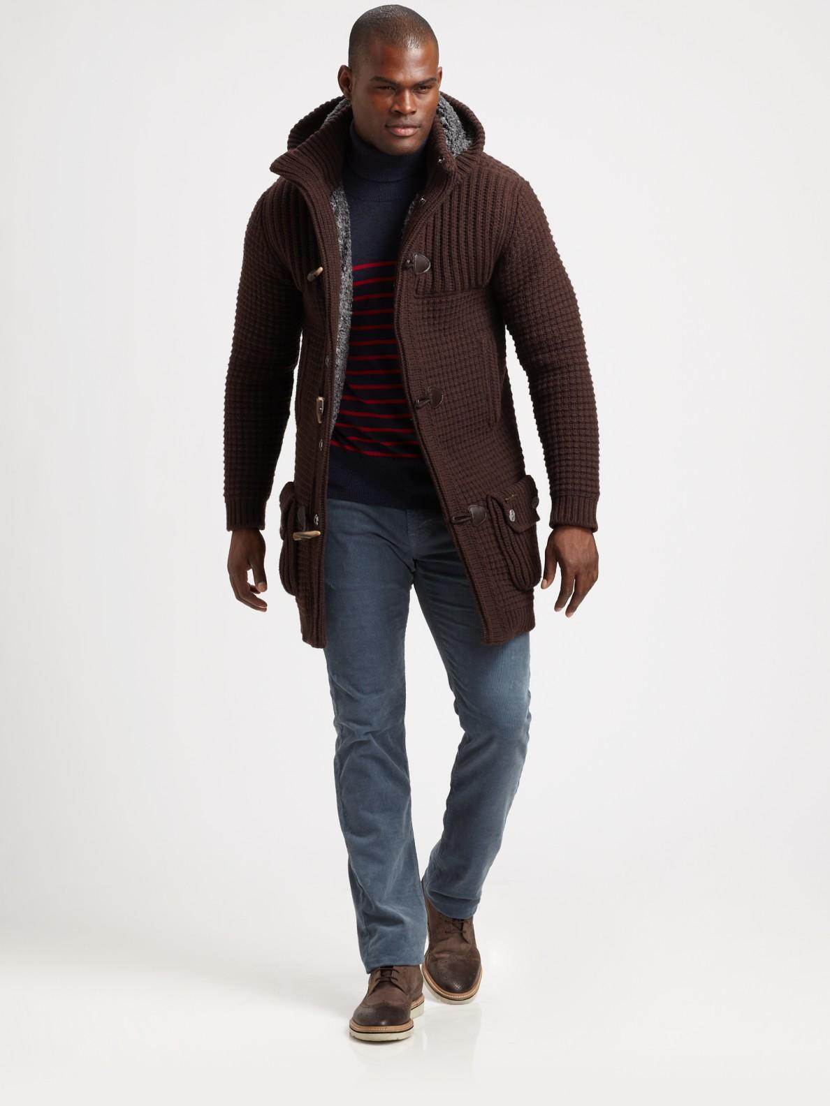 Bark Knit Duffel Coat in Brown for Men   Lyst