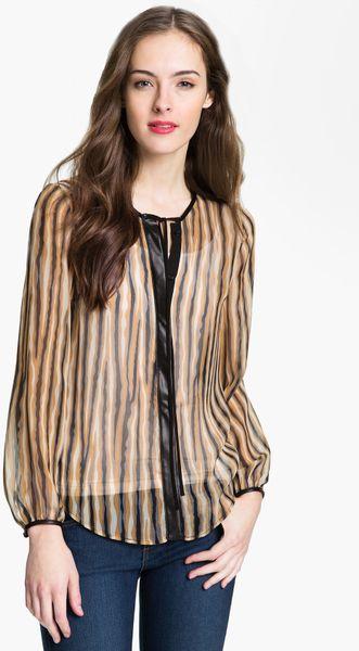 Zara Leather Trim Blouse 112