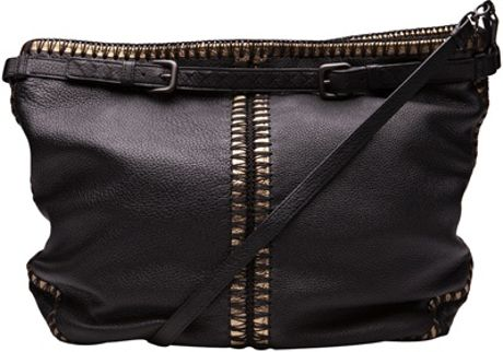Bottega Veneta Cervo Cross Body Messenger in Black