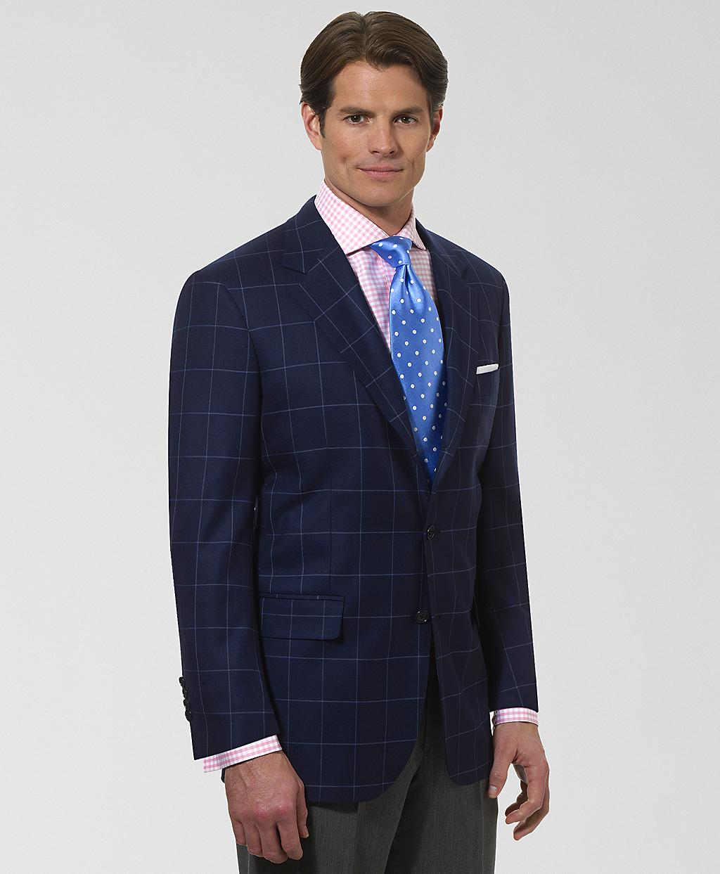 Brooks brothers Madison Fit Saxxon Windowpane Sport Coat in Blue ...