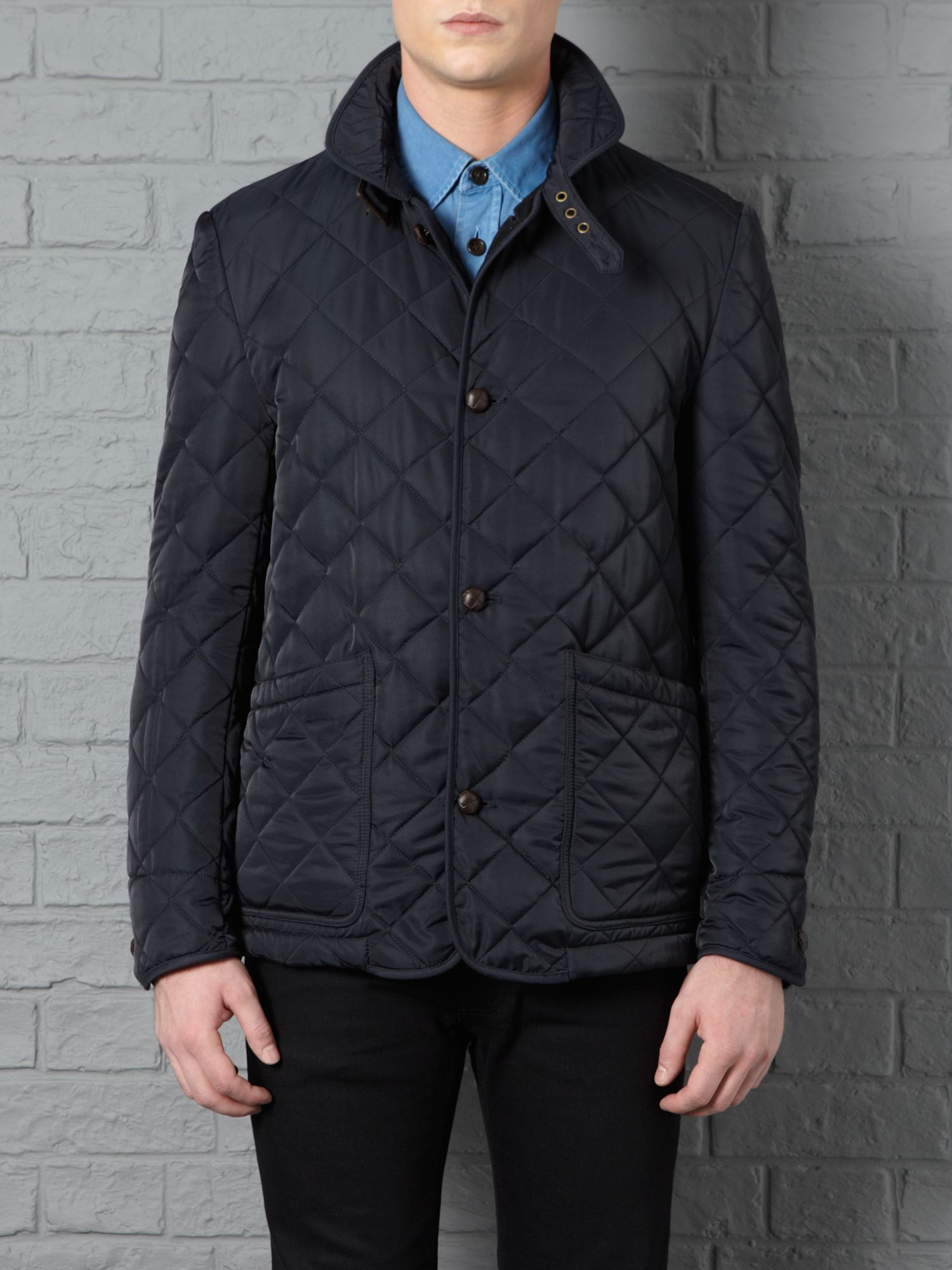 Farrell Nylon Quilted Jacket in Navy (Blue) for Men