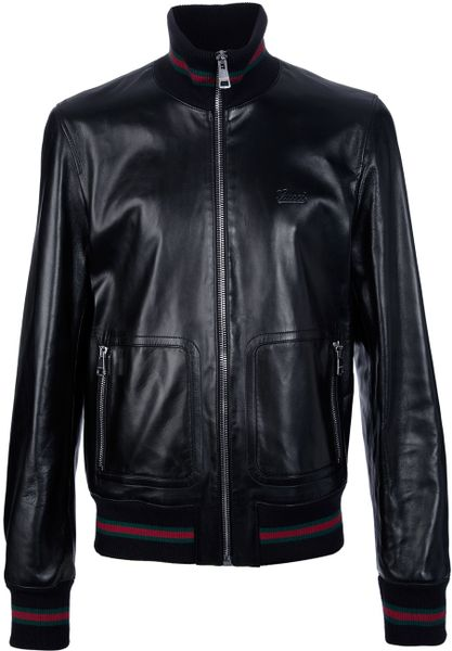 Gucci Classic Leather Jacket in Black for Men
