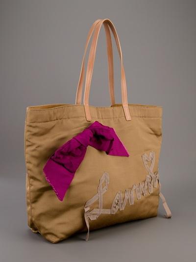 Lanvin Ribbon Tote Bag in Brown (Natural)